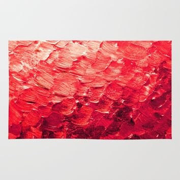 MERMAID SCALES 4 Red Vibrant Ocean Waves Splash Crimson Strawberry Summer Ombre Abstract Painting Rug by EbiEmporium