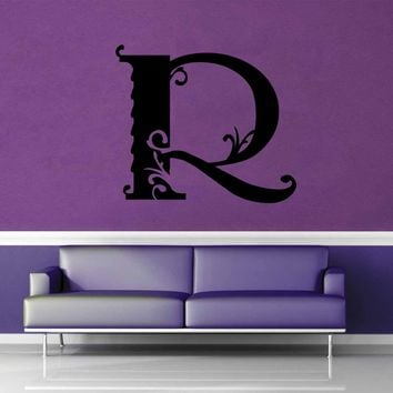 Floral Monogram - R - Wall Decal$8.95