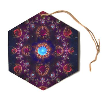 "Cvetelina Todorova ""Royal Jewels"" Purple Blue Hexagon Holiday Ornament"