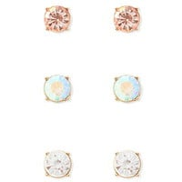 Faux Gemstone Stud Set
