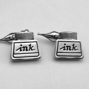 Pen and Ink Well Cufflinks, Writing Cuff Links, PenWedding Cuff Links, Father's Day Cuff Links, Graduation Gift