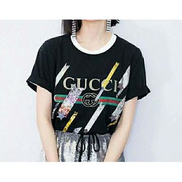 GUCCi spring/summer print embroidery with bright meteor t-shirts.N-AG-CLWM