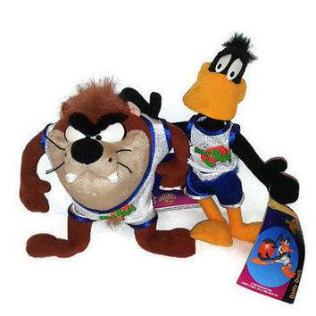 Vintage 1996 McDonalds Taz Daffy Duck Plush Stuffed Animal Space Jam Movie 2 Lot