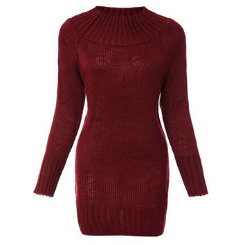 Red Knitted Long Sleeve Sheath Dress