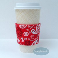 Puppy Dog Paisley Coffee Cup Cozy, Cold Drink Wrap, Sleeve, Red White | SewAmazin - Pet Lovers on ArtFire