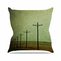 "Sylvia Coomes ""Electric "" Green Digital Outdoor Throw Pillow"