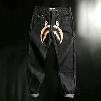 BAPE SHARK Fashion Shark mouth print long pants Stylish Denim Jeans I-JJ-LHYCWM