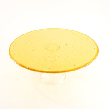 Gold Cake Stand, Cake Platform, Pedestal Plate Stand, Cupcake Tower, Wedding Cake Display, Fused Glass, Shower Hostess Gifts