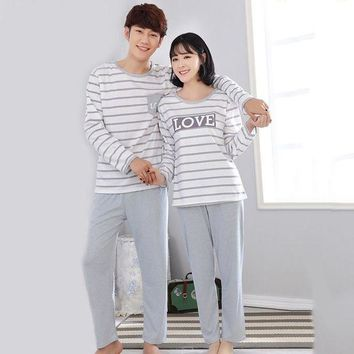 VONG2W Couple Sleepwear Sets Spring Autumn Lovers Long-sleeved Pajamas Set Stripe Nightwear Loungewear Casual Cotton Home Clothes