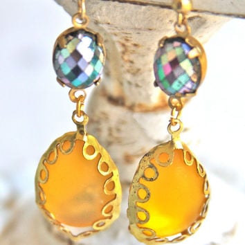 Vintage Yellow Oval Glass Iridescent Black Purple Pink Blue Brass Scalloped Drop Dangle Earrings - Wedding, Bridesmaid, Beach Upcycled