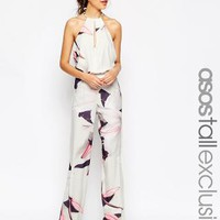 ASOS Tall | ASOS TALL SALON Plunge Jumpsuit with Wide Leg in Orchid Print at ASOS