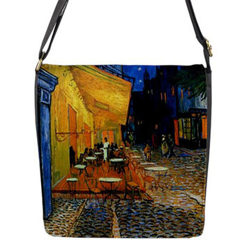 Vincent Van Gogh Cafe Terrace At Night Crossbody Messenger School Sling Shoulder Bag Handbag Tote Large Small and Changeable Flap Cover