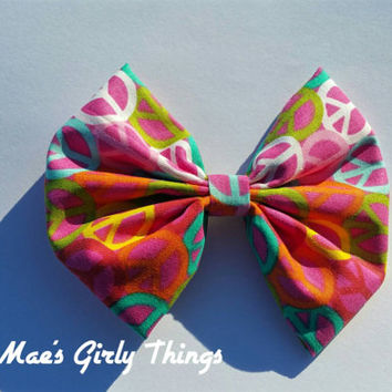 Hairbow with peace sign, peace sign hairclips, really big hairbow, pink hairbow, colorful hairbow