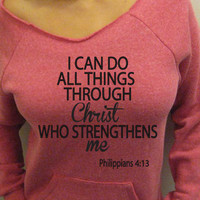 I can do all things through Christ Eco Friendly Pink Fleece Sweatshirt Off Shoulder