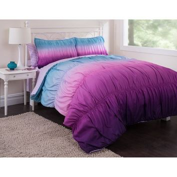 5pc Girl Purple Tie Dye Twin XL College Dorm Comforter Set (5pc Bed in a Bag)