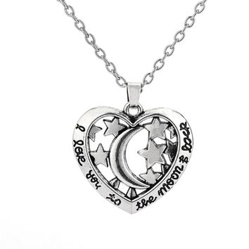 Dawapara I love you to the moon and back hollow heart pendant jewelry women star necklace womens clothing accessories