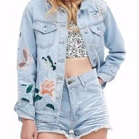 Talia Light Wash Floral Butterfly Embroidered Denim Jacket