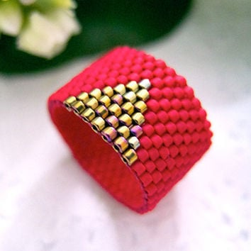 Red Ring Band Beaded with Gold Triangle by JeannieRichard