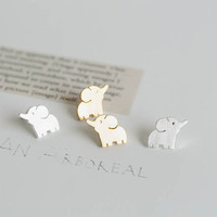 Elephant Earrings Silver Gold