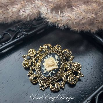 Victorian/ Gothic/ Spooky/ Pinup/ Vintage Goth/ Memento Mori/ Noir Romantic/ Ivory And Black Rose/ Ornate Antiqued Gold Brooch