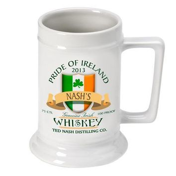 16oz. Ceramic Beer Stein - Irish Whiskey