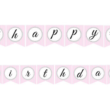 Glamour Girl Happy Birthday Banner: INSTANT DOWNLOAD