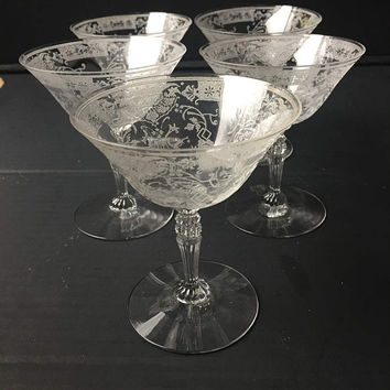 Etched Crystal Champagne Glasses Set of 5 Vintage Etched Cocktail Glasses