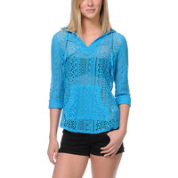 Empyre Girls Austin Stripe Neon Blue Crochet Poncho