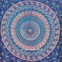 Twin Blue Bohemian Mandala Wall Tapestry, Indian Hippie Boho Bedding Throw on RoyalFurnish.com