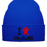 i love anime Embroidery - Beanie Cuffed Knit Cap