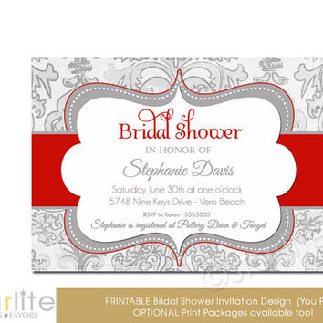Red Gray Shimmer - Bridal Shower Invitation Red Grey - vintage style, distressed chic - Printable Invitation, You Print