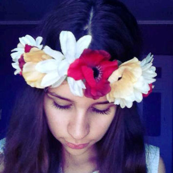 NEW! -  Red and soft Yellow Poppies and White DaisiesWire Flower Crown with Ribbon - Coachella Music Festival Floral Halo