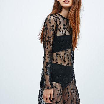 Pins & Needles Embroidered Mesh Maxi Dress in Black - Urban Outfitters