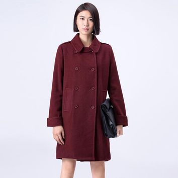 Amii Casual Women Woolen Coat 2017 Winter Solid Double Breasted Turn-down Collar Female Wool Blends
