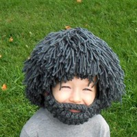 Adult Kids Wig Beard Knitted Hats Winter Autumn Head Warm Caps Children's Christmas Face Mask Knitted Hats Women and Men Beanie
