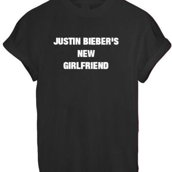 JUSTIN BIEBER NEW GIRLFRIEND SASSY CUTE LADY BELIEBER WOMEN T SHIRT TOP TEE NEW - BLACK