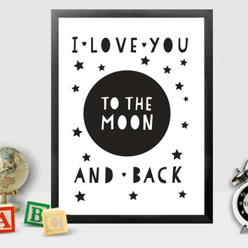 I Love You to the Moon and Back Canvas Painting Nursery Wall Art Poster Scandinavian Pop Prints Black and White Baby Rooms Decor