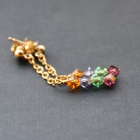 Small Crystal Earrings, Pink Peridot Green Orange Lavender, 14K Gold Fill Chain Earring, Rainbow Post Earrings