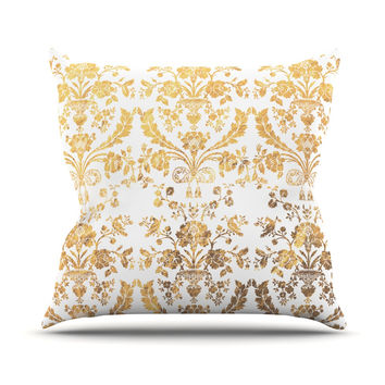 "KESS Original ""Baroque Gold"" Abstract Floral Throw Pillow"