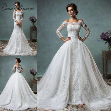 Mermaid Wedding Dress With Detachable Skirt Long Sleeve Illusion Lace Embroidery Appliques Wedding Gown