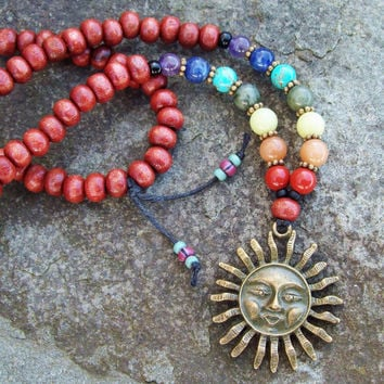 Long Beaded Necklace with Seven Main Chakra Colors and Sun Pendant - Yoga Necklace