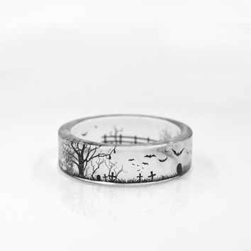 Handmade Silhouette Ring Inside Epoxy Resin Ring Women Punk Boho