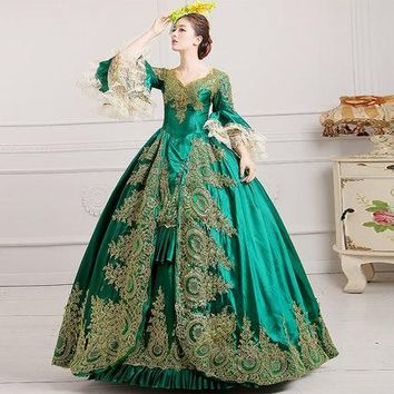 luxury green golden embroidery lace ball gown cosplay medieval dress Renaissance gown queen Victorian