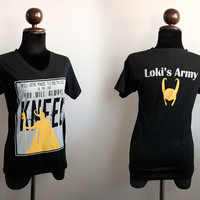Loki You were made to be ruled grey and mustard printed plus Loki's Army with helmet on black T-shirt