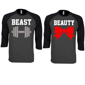 Beast and Beauty Couple Charcoal / Black Baseball T-shirt
