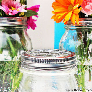 Set of 6 Mason Jar Flower Frog LIDS by TheCountryBarrel
