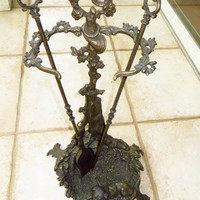 Art Nouveau Fireplace Tool Set w/ Sitting Dog