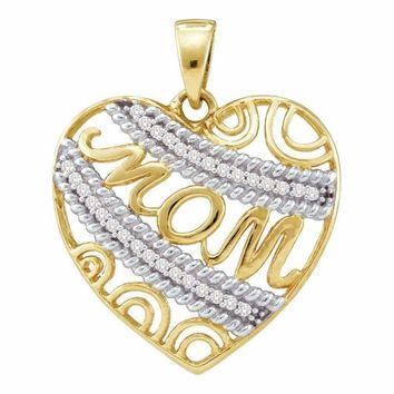 10kt Yellow Gold Women's Round Diamond Mom Mother Filigree Heart Pendant 1-10 Cttw - FREE Shipping (US/CAN)