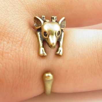 Animal Wrap Ring - Deer - Yellow Bronze - Adjustable Ring - The Perfect Stocking Stuffer
