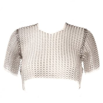 FANNIE SCHIAVONI - Metal-Acrylic Chainmail Crop Top - 213-04 SILVER/CLEAR - H. Lorenzo